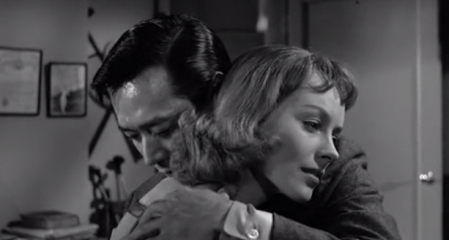 james shigeta and victoria shaw embracing in the crimson kimono